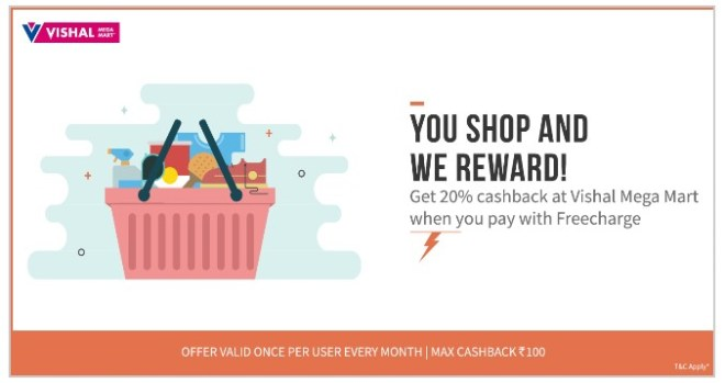 Freecharge-Get-20-cb-at-Vishal-Mega-Mart